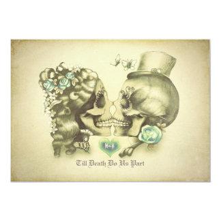 Schädel-Paar-Tag der toten Hochzeits-Einladungen 12,7 X 17,8 Cm Einladungskarte
