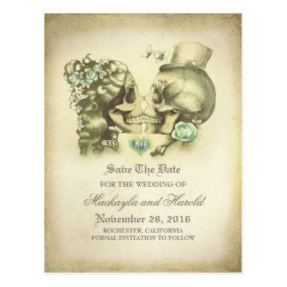 Schädel-Paar-Tag der Toten Save the Date Postkarte