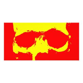 Schädel-Pop-Kunst - Rot u. Gelb Fotokarte