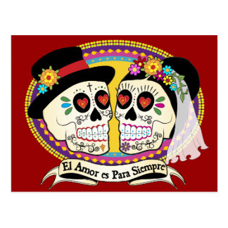 Schädel-Postkarte Los Novios Zucker(spanisch) Postkarte
