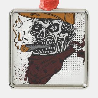 Schädel-Rauchen Silbernes Ornament