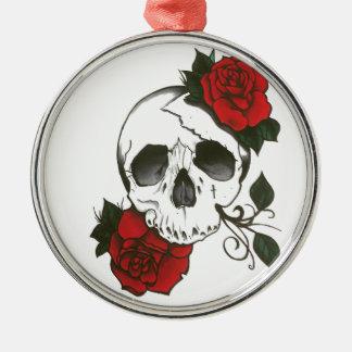 Schädel-Rosen orament Rundes Silberfarbenes Ornament