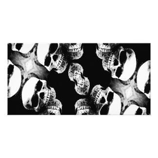 Schädel Schwarzes u. Weiß Fotokartenvorlagen