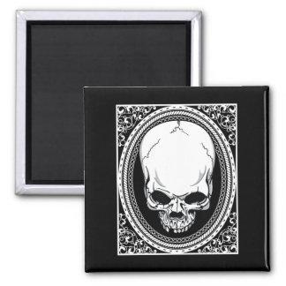 Schädel ~ Skeleton Schädel-gotisches Schwarzes Quadratischer Magnet