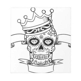 Schädel-Tag des toten Notizblock