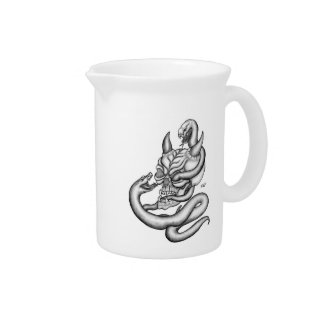 Schädel - Teufel-Kopf mit Schlange Getränke Pitcher