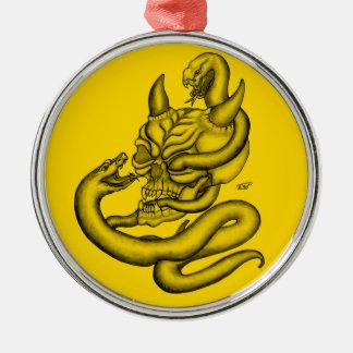 Schädel - Teufel-Kopf mit Schlange Silbernes Ornament
