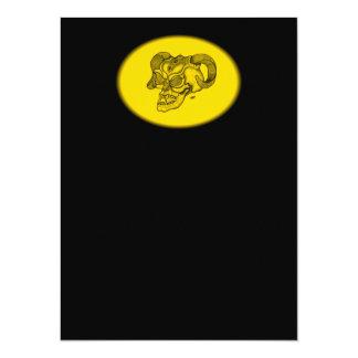 Schädel-Teufel-Kopf-schwarzer und gelber Entwurf Karte