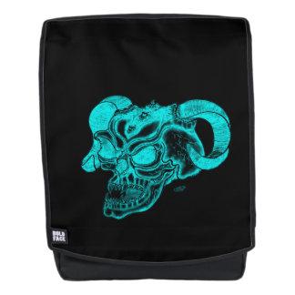 Schädel-Teufel-Kopf-schwarzer und grüner Entwurf Rucksack