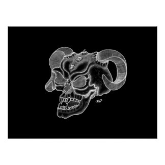Schädel-Teufel-Kopf-Schwarzweiss-Entwurf Poster