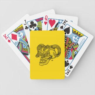 Schädel-Teufelkopf schwarzer und gelber Entwurf Bicycle Spielkarten