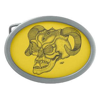 Schädel-Teufelkopf schwarzer und gelber Entwurf Ovale Gürtelschnallen