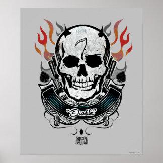 Schädel-u. Flammen-Tätowierungs-Kunst der Poster
