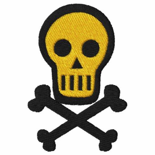 Schädel-u. gekreuzte Knochen Goth Piraten-Fantasie Besticktes Polo Shirt