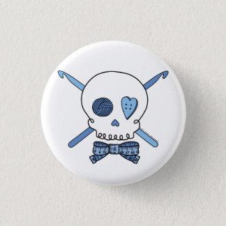 Schädel-u. Häkelarbeit-Haken (blau) Runder Button 2,5 Cm