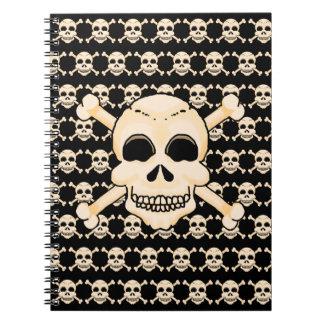 Schädel u. Knochen-gewundenes Notizbuch Notizblock