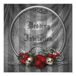 Schädel u. Rosen-elegante gotische Hochzeit lädt Quadratische 13,3 Cm Einladungskarte