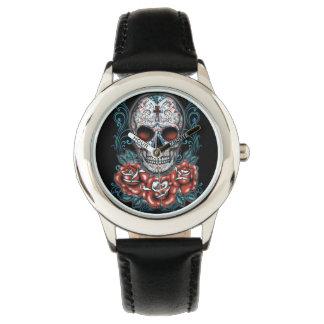 Schädel-u. Rosen-rostfreier Stahl-Schwarz-Uhr Armbanduhr
