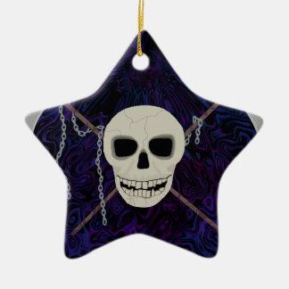 Schädel u. Sensen Keramik Stern-Ornament