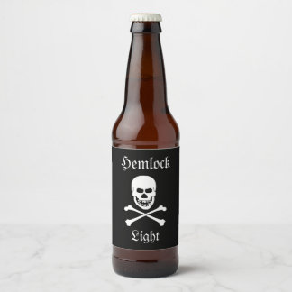 Schädel-und Bierflaschenetikett