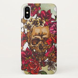 Schädel-und Blumen-Tag der Toten iPhone X Hülle