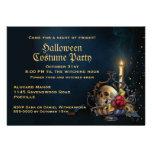 Schädel und Herbstlaub-Halloween-Party Individuelle Ankündigungskarte