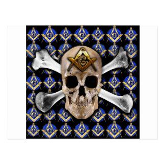 Schädel und Knochen-Quadrat-u. Kompass-Schwarzes Postkarte