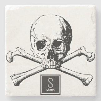 Schädel und Knochen Steinuntersetzer