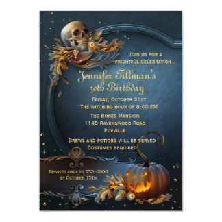 Schädel-und Kürbis-Halloween-Geburtstags-Party 12,7 X 17,8 Cm Einladungskarte
