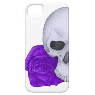 Schädel und lila Rosen iPhone 5 Hüllen