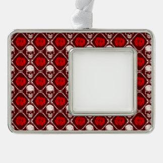 Schädel und Rosen Rahmen-Ornament Silber