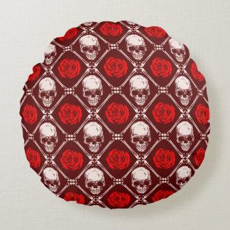 Schädel und Rosen Rundes Kissen