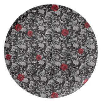 Schädel- und Rosenmuster Teller