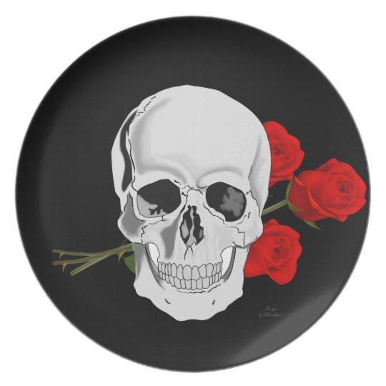 Schädel- und Rosenplatte Teller