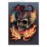 Schädel-und Schlangen-Tätowierung Grußkarten