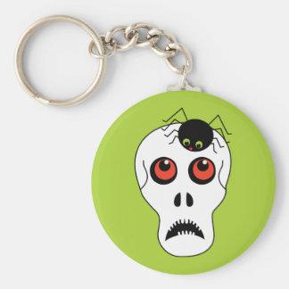 Schädel und Spinne Halloween Schlüsselanhänger