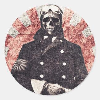 Schädelkamikaze Runde Sticker
