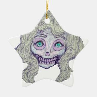 Schädelzuckerpastell - her26- keramik Stern-Ornament