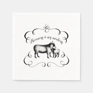Schaf-Bauernhof-lustiger französischer Papierserviette