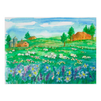 Schaf-Bauernhof-Wildblume-Wiese Poster