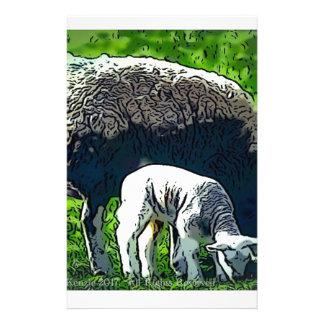 Schaf- und Lamm-Cartoon Briefpapier