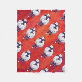 Schaf-Weihnachten auf Rot Fleecedecke