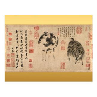 Schaf-Ziegen-Neujahrsfest-Tierkreis-Postkarte Postkarte