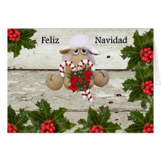 Schäfchen von crochet Navidad beglückwünschen Karte