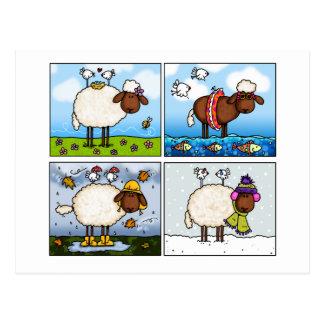 Schafe aller Jahreszeitpostkarte Postkarte