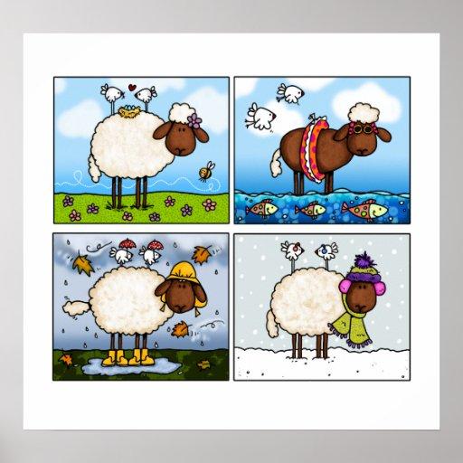 Schafe alles Jahreszeitplakats Plakatdrucke