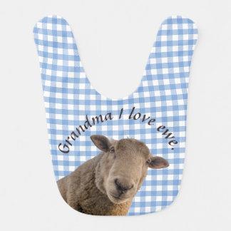 Schafe auf dem blauen Gingham personalisiert Lätzchen