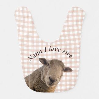 Schafe auf dem rosa Gingham personalisiert Lätzchen