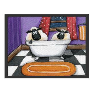 Schafe des Schaf-Bad-| in einer Bad-Illustration Postkarten