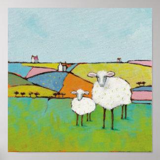 Schafe in der Wiese Poster